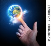 World on your Fingertip. Conceptual photography. - stock photo