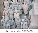 Terra Cotta Warriors on display in Xian, China - stock photo