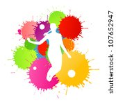 Colorful bright ink splashes and happy person- teenager or woman in front of them - stock vector