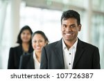 Happy & successful Indian business team at the office. - stock photo