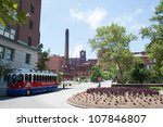 ST. LOUIS - JULY 8: The Budweiser brewery at the Anheuser-Busch headquarters hosts 300.000 visitors annually on July 8, 2012 in St. Louis. The complimentary tour is offered throughout the year. - stock photo