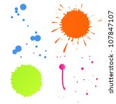Set of colorful splashes vector background - stock vector