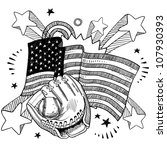Doodle style American flag with baseball glove sketch in vector format - stock vector