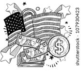 Doodle style coins and dollar bills with American flag sketch in vector format - stock vector