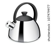An isolated tea kettle on a white background. Vector - stock vector