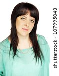 Portrait of a woman in a turquoise blouse - stock photo