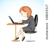 illustration of 3d business lady in vector working on laptop - stock vector