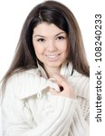 The beautiful girl In a white jacket - stock photo