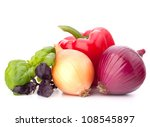Sweet pepper, onion, tomato  and basil leaves  still life isolated on white background cutout - stock photo