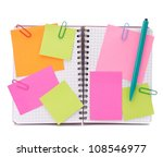 Blank checked notebook with notice papers isolated on white background cutout - stock photo