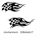 Checkered flag with black flames as a racing or motocross tattoo as a logo. Jpeg version also available in gallery - stock vector