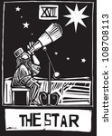 Woodcut style Tarot card for the Star. - stock vector