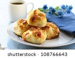 Fresh sweet buns muffins for breakfast - stock photo