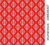 Seamless Rings on Red Tiled/Digital abstract image with a seamless tiled concentric ring design in pale blue on a red background. - stock photo