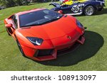 PLYMOUTH - JULY 29 : A Lamborghini Aventador display at the Concours D'Elegance  July 29, 2012 in Plymouth, Michigan. - stock photo