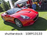 PLYMOUTH - JULY 29 : A red Ferrari on display at the Concours D'Elegance  July 29, 2012 in Plymouth, Michigan. - stock photo