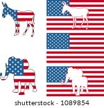 The democrat and republican symbols of a donkey and elephant and American flag. - stock vector