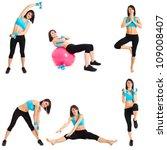 Beautiful woman doing fitness exercises - stock photo