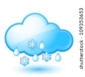 Raster version. Single weather icon - Cloud with Snow and Rain - stock photo