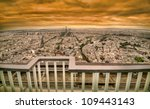 paris golden sunset panoramic cityscape with retro style vibrant colors - stock photo