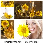 Girl with flower seeds. A set with vegetable oil.Collage. - stock photo