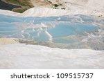 Azure pools of water Pumakkale, Turkey - stock photo