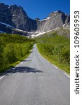 Picturesque road on Lofoten islands to village of Nusfjord in Norway - stock photo