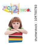 Child preparing for elementary school - isolated - stock photo