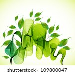 Abstract green natural  background with wave, illustration - stock photo