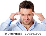 Stressed business man with a headache �¢?? isolated over white - stock photo
