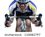 Cycler riding on bike with clipping path - stock photo