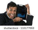 Indian Business man holding digital tablet pc with finance graph on screen. Isolated on white background. - stock photo