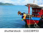 Traditional Thailand ship waiting for tourists on Koh Chang island - stock photo