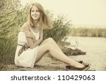 Redhead girl at outdoor. - stock photo
