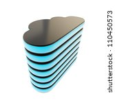 Cloud computing technology server database black and blue plastic icon emblem isolated on white - stock photo