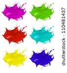 Paint splashes shots of colored blots on the white background - stock photo