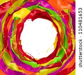 Paint splashes circle with free space for text - stock photo