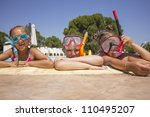 Children on the pool - stock photo
