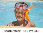 Girl in the swimming pool - stock photo
