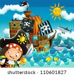 The pirates and the ships - bright sky - illustration for the children 8 - stock photo