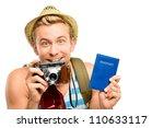 Happy young tourist man holding passport white background - stock photo