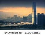 HongKong and Kowloon at sunset - stock photo