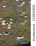 Bird's eye view of Sorland on island of Vaeroy, Lofoten islands in Norway - stock photo