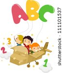 Illustration Featuring Kids on a Plane Playing with Letters and Numbers - stock vector