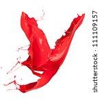 Isolated shot of red paint splash on white background - stock photo