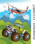 The car and the flying machine - illustration for the children 3 - stock photo