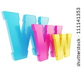 World wide web www cmyk colored glossy letter symbol isolated on white background - stock photo