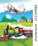 The locomotive and the flying machine - illustration for the children 11 - stock photo