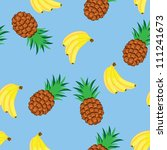 Raster version. Seamless texture of bananas and pineapples. Illustration on blue background - stock photo