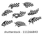 Checkered flags in tribal style for tattoo or sports design, such a logo. Jpeg version also available in gallery - stock vector